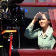 Nicole Kidman sur le tournage de The Railway Man en Ecosse le 2 mai 2012