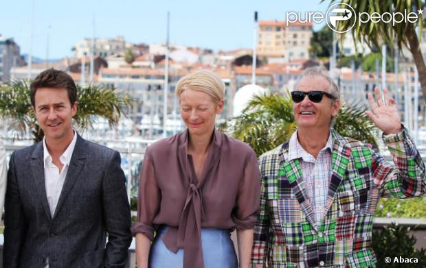 Edward Norton, Tilda Swinton et Bill Murray lors du photocall de Moonrise Kingdom au festival de Cannes le 16 mai 2012