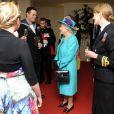 Après le défilé, rencontre avec des officiers lors d'un cocktail. La reine Elizabeth II, avec son époux le duc d'Edimbourg, des membres de sa famille et ses invités de marque, assistait le 19 mai 2012 à Windsor à la grande parade des forces armées britanniques donnée en l'honneur de son jubilé de diamant.