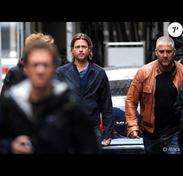 Brad Pitt sur le tournage de World War Z de Marc Forster, en août 2011 à Glasgow, Écosse.