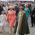 La famille royale en la cathédrale d'Oslo lors de la célébration des 75 ans de Harald V de Norvège et de Sonja de Norvège le 31 mai 2012