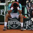 Jo-Wilfried Tsonga le 5 juin 2012 lors de son match perdu face à Novak Djokovic en quart de finale à Roland-Garros (6-1, 5-7, 5-7, 7-6, 6-1)