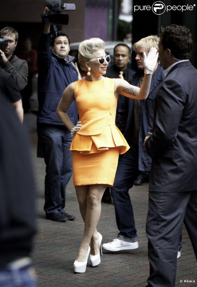 Lady Gaga, en Antonio Berardi et souliers Christian Louboutin à Auckland, le 5 juin 2012.