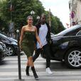 Kanye West et Kim Kardashian arrivent à L'Avenue, à Paris le 17 juin 2012