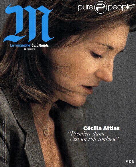 Cécilia Attias en couverture du magazine  M , supplément week-end du  Monde , juin 2012.