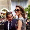 Cécilia Attias et Nicolas Sarkozy à l'Elysée, le 14 juillet 2007.