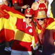 L'infante Elena d'Espagne s'était parée des couleurs du drapeau pour accueillir à Madrid la Roja, victorieuse de l'Euro 2012, le 2 juillet 2012.