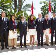 Le prince Albert et la princesse Charlene de Monaco participaient le 12 juillet 2012 à la présentation de la délégation olympique monégasque pour les JO de Londres 2012, à l'Hôtel Hermitage. Six athlètes porteront les couleurs de la principauté.