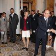 Le prince Albert et la princesse Charlene de Monaco le 12 juillet 2012 lors de la présentation de la délégation olympique monégasque pour les JO de Londres 2012, à l'Hôtel Hermitage. Six athlètes porteront les couleurs de la principauté.