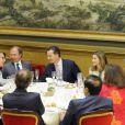 Le prince Felipe et la princesse Letizia d'Espagne présidaient le 16 juillet 2012 au Sénat, à Madrid, le dîner de remise du Prix Luis Carandell du journalisme parlementaire, attribué pour sa 8e édition à Rocío Antoñanzas de Toledo, journaliste politique de l'agence EFE.