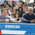 Chris O'Donnell et LL Cool J lors du tournage de la série NCIS : Los Angeles à Venice Beach le 23 juillet 2012