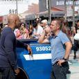 LL Cool J et Chris O'Donnel sur le tournage de la série NCIS : Los Angeles à Venice en Californie le 23 juillet 2012