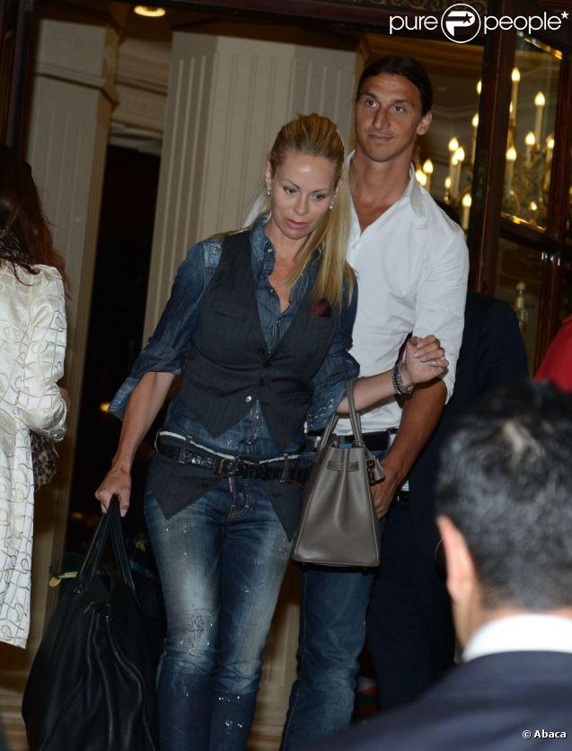 Zlatan Ibrahimovic et sa femme Helena Seger le 18 juillet 2012 à Paris