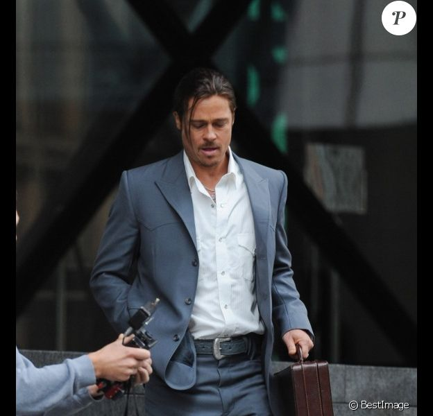 Brad Pitt, en plein tournage du film The Counselor, à Londres, le samedi 4 août 2012.