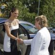 La princesse Victoria de Suède arrive à la commemoration pour le centenaire de la naissance de Raoul Wallenberg à Sigtuna le 4 août 2012