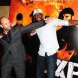 Jason Statham et Usain Bolt lors de l'avant-première à Londres du film Expendables 2 le 13 août 2012