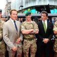 Arnold Schwarzenegger et Sylvester Stallone lors de l'avant-première à Londres du film Expendables 2 le 13 août 2012