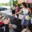 La princesse Mary de Danemark lors de l'inauguration du campus de l'Université de Roskilde le 23 août 2012.