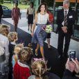 La princesse Mary de Danemark arrivant pour l'inauguration du campus de l'Université de Roskilde le 23 août 2012.