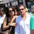 Eric Besson et Yasmine à Saint-Tropez, le 17 août 2012.