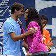 Roger Federer, Andy Roddick, Serena Williams et Kim Clijsters lors du 17e Arthur Ashe Kids' Day au USTA Billie Jean King National Tennis Center in Flushing Meadows à New York le 26 août 2012