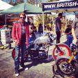 Johnny Hallyday immortalisé par Laeticia lors d'un rallye de vieilles motos dans le quartier de Venice, à Los Angeles, le 15 septembre 2012.