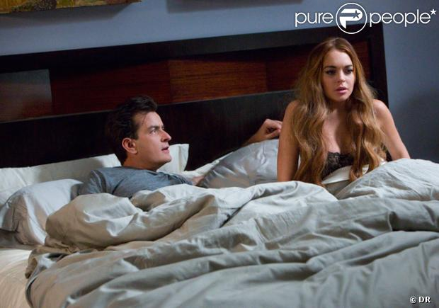 Lindsay Lohan et Charlie Sheen, sur le tournage de  Scary Movie 5 .
