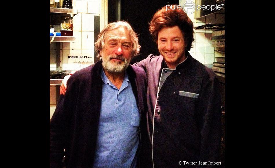 Jean Imbert a posté une photo avec Robert De Niro, venu dîner dans son restaurant le 1er octobre 2012