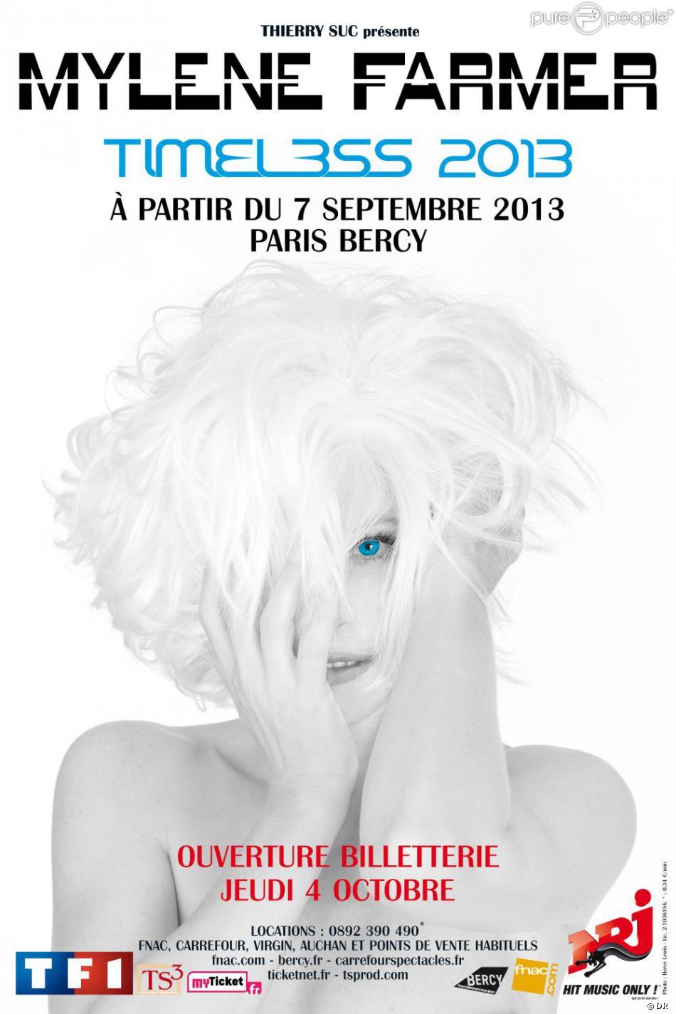 Mylène Farmer sera en tournée, intitulée  Timeless , à partir du 7 septembre 2013.