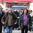 Claude Lelouch et sa soeur Martine lors des funérailles du réalisateur Claude Pinoteau à Montmartre à Paris le 11 octobre 2012
