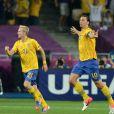 Zlatan Ibrahimovic et Chirstian Wilhelmsson lors de l'Euro 2012 lors du match Suède-France à Kiev le 19 juin 2012