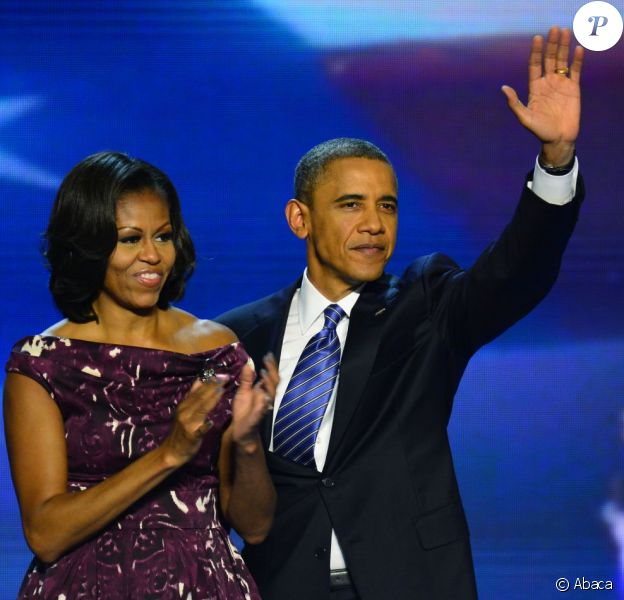 Barack Obama, sa femme Michelle lors de la convention nationale démocrate au Times Warner Cable Arena de Charlotte le 6 septembre 2012