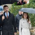 Letizia et Felipe d'Espagne visitent sous la pluie le village de Bueno aux Asturies, nommé village exemplaire, le 27 octobre 2012