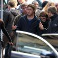 Brad Pitt sur le tournage de World War Z en Ecosse à Glasgow en août 2012