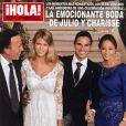 Les mariés Julio Iglesias Jr. et Charisse Varhaert, entourés de Julio Iglesias et Isabel Preysler, parents du marié, en couverture du magazine espagnol  ¡Hola!  novembre 2012.
