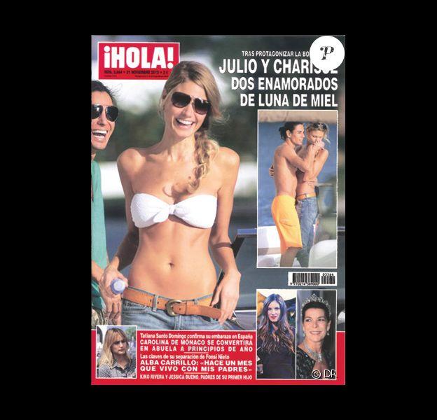 Les mariés Julio Iglesias Jr. et Charisse Varhaert en lune de miel, en couverture du magazine espagnol ¡Hola! novembre 2012.