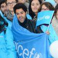 Jamel Debbouze plus motivé que jamais pour soutenir l'opération Poussettes vides au profil de l'Unicef à Paris dans les jardins du Trocadéro le 18 novembre 2012