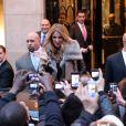Céline Dion quitte l'hôtel du George V pour se rendre sur le plateau de l'émission C à vous sur France 5, le 28 novembre 2012.