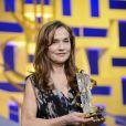 Isabelle Huppert, récompensée, durant l'ouverture du Festival International du Film de Marrakech 2012, le 30 Novembre 2012.