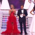 Sylvie Tellier, directrice générale de la société Miss France, fait son entrée lors de l'élection de Miss France 2013 le samedi 8 décembre 2012 sur TF1 en direct de Limoges