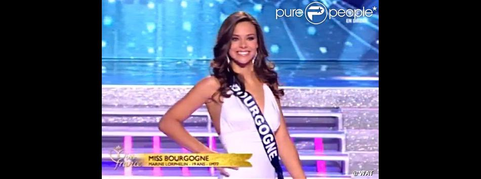Miss Bourgogne, Marine Lorphelin, élue Miss France 2013 lors du tableau hommage à Marilyn.