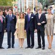 le prince Sébastien, le Prince Félix, la grand-duchesse Maria Teresa et le grand-duc Henri, le prince Louis, son épouse la princesse Tessy et la princesse Alexendra de Luxembourg réunis pur le mariage civil du prince Guillaume, le 19 octobre 2012.