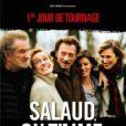"""Premier de tournage pour """"Salaud, on t'aime"""" de Claude Lelouch avec Johnny Hallyday, Eddy Mitchell, Sandrine Bonnaire, le 17 décembre 2012."""