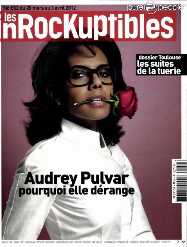 Audrey Pulvar en couverture des  Inrockuptibles , le 28 mars 2012.