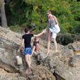 Stephanie Seymour en famille profite du soleil de Saint-Barthélemy le 22 décembre 2012