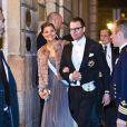 La princesse Victoria de Suède et le prince Daniel au gala de fin d'année de l'Académie royale, à la Bourse de Stockholm, le 20 décembre 2012.