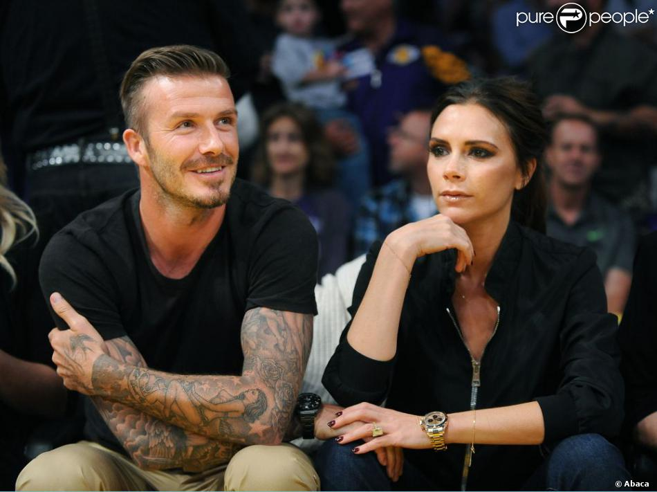 David et Victoria Beckham au Staples Center lors du match Los Angeles Lakers - Denver Nuggets. Los Angeles, le 1er mai 2012.