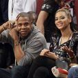 Jay-Z et Beyoncé Knowles assistent à la rencontre Brooklyn Nets-Los Angeles Clippers. Brooklyn, le 23 novembre 2012.