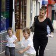 Jade Goody et ses enfants à Chigwell, Essex, le 3 septembre 2008.