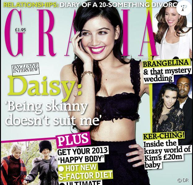 Daisy Lowe figure en couverture du magazine Grazia UK du 14 janvier 2013.